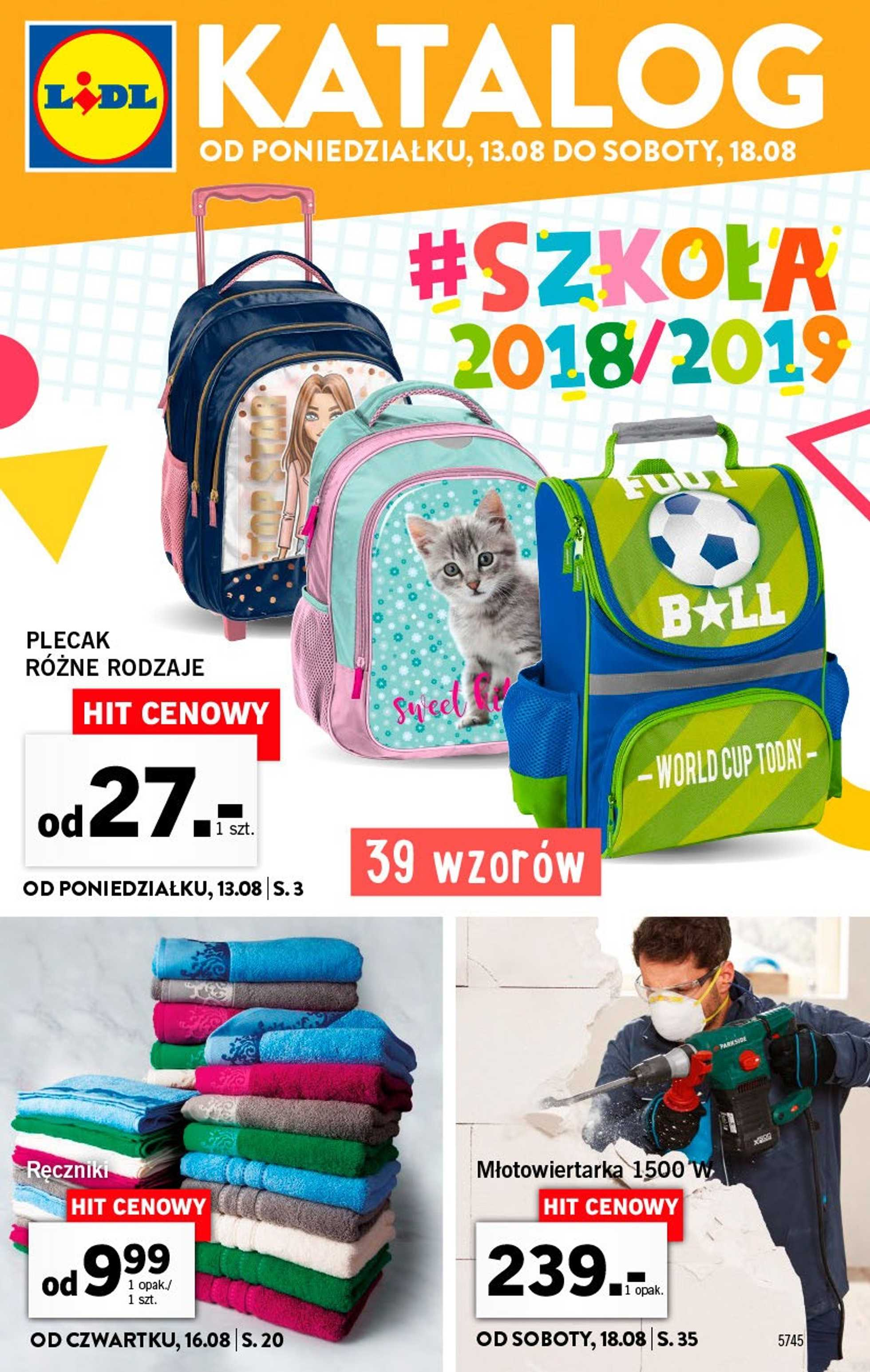 Lidl - gazetka promocyjna ważna od 13.08.2018 do 18.08.2018 - strona 1.