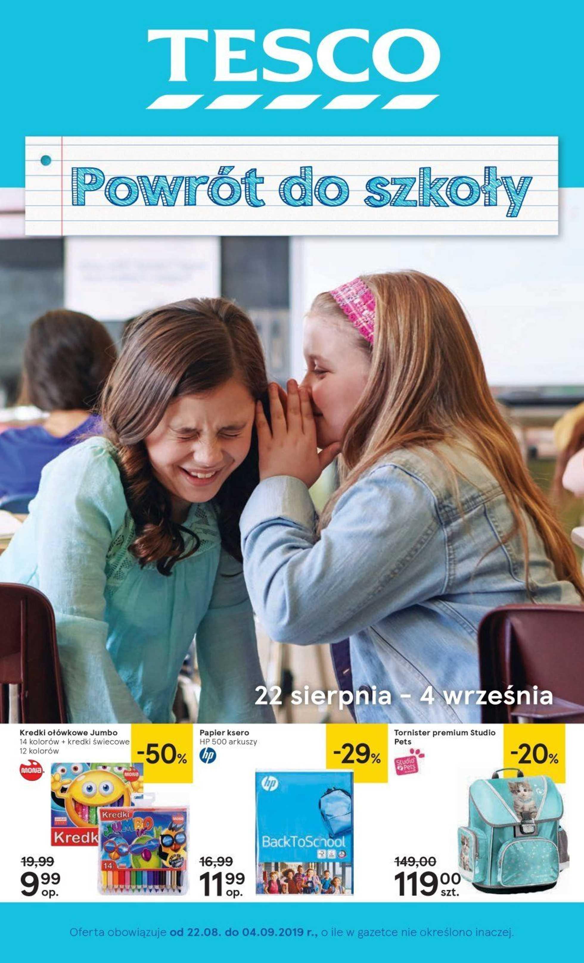 Tesco - gazetka promocyjna ważna od 22.08.2019 do 04.09.2019 - strona 1.