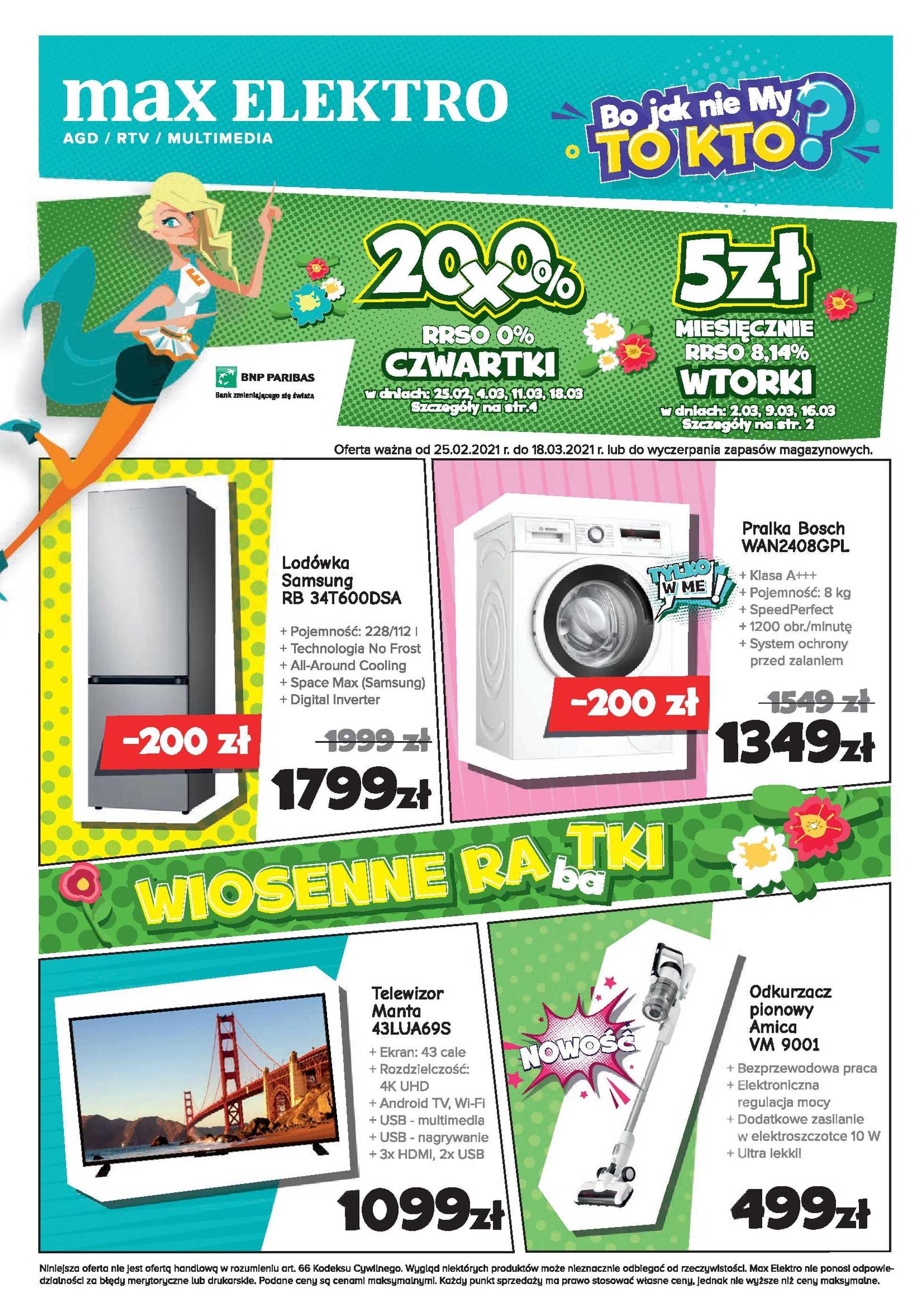 Max Elektro - gazetka promocyjna ważna od 25.02.2021 do 18.03.2021 - strona 1.